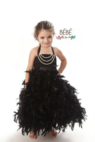 Black Feather Flower Girl Dress