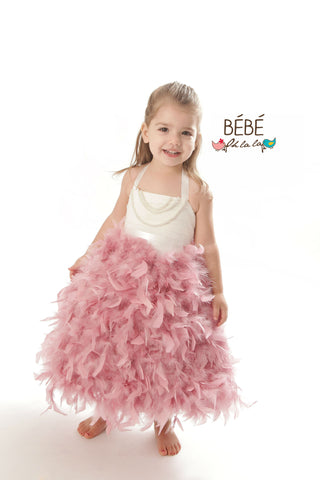 Dusty Pink Feather Flower Girl Dress