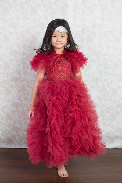 Maroon Ruffle Tulle Gown