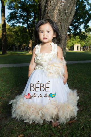 Cream Feather Tutu Dress