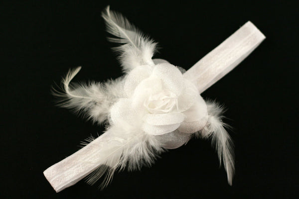 Precious Flower Headband for Infants, Toddlers and Young Girls White