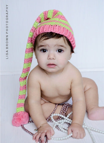 Pink and Greeen Night Cap Elf Crochet Hat for Newborn and Infants