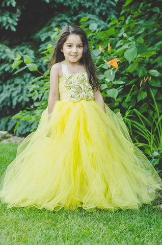 Yellow Rosette Tutu Dress