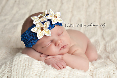 Blue and White Star Bright Headband for Newborns, Babies and Toddlers