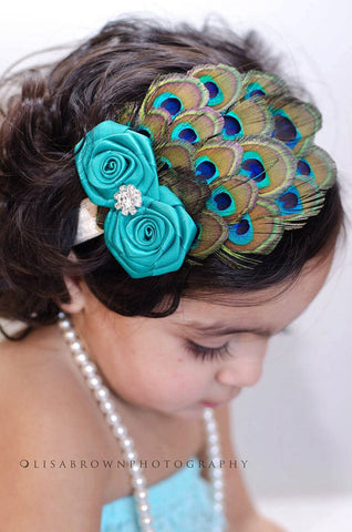 Double Rosette Peacock Feather Headband