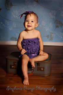 Purple Lace Romper for Infants, Toddlers and Young Girls