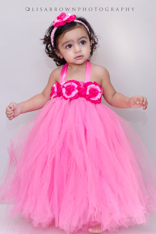 Pink Flower Tutu Dress for Infants, Toddlers and Young Girls