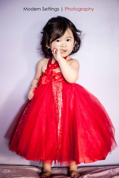 Red Glitter Tutu Dress for Toddlers and Young Girls