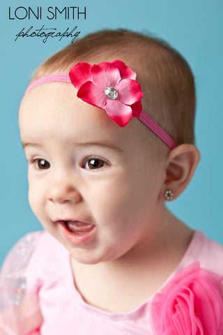 Hot Pink Hydrangea Headband for Newborn and Infants