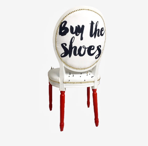 Buy The Shoes | White Leather & Spikes Side Chair