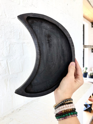 Moon Magick Crescent Wood Tray