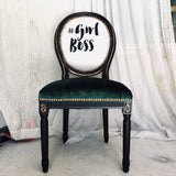 Emerald Girl Boss Queen | Vevlet & Black Accent Chair