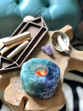 Candle Holder | Rainbow Fluorite Crystal Candle Holders Tea Light | Home Decor | Boho Chic | Reiki & Full Moon Charged