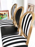Black and white stripe + gold painted pair of French Louis XVI chairs | Custom Furniture