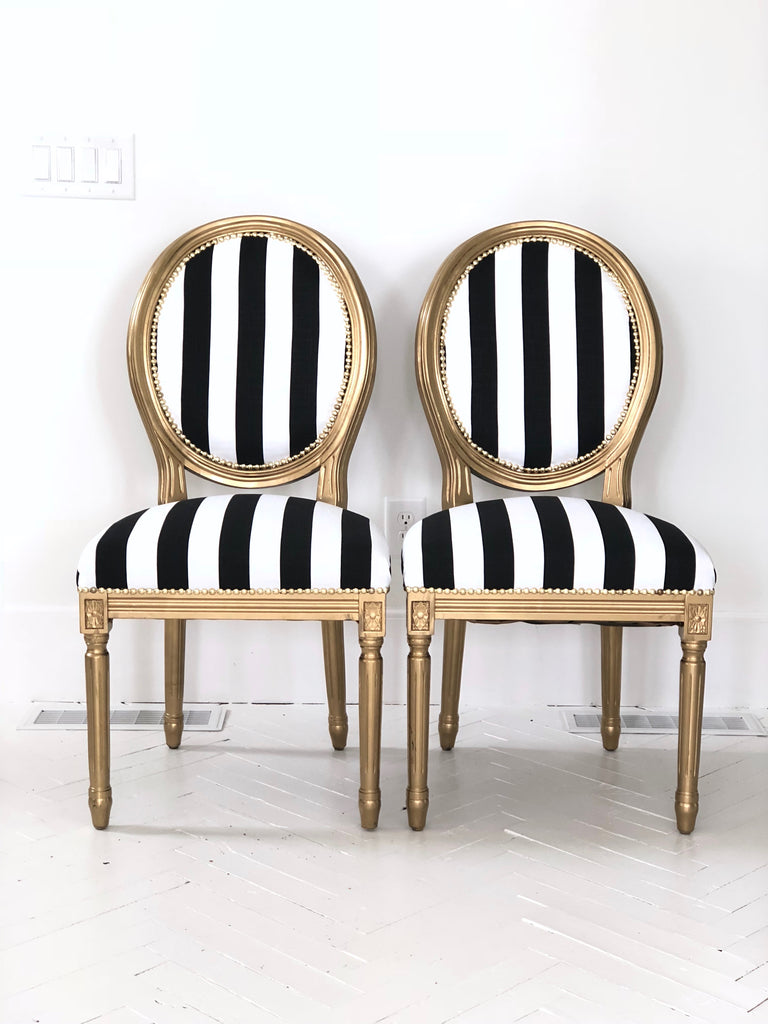 Pleasing Black And White Stripe Gold Painted Pair Of French Louis Ibusinesslaw Wood Chair Design Ideas Ibusinesslaworg