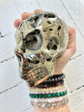 Pyrite Carved Skull |  Full Moon Charged | Reiki Charged