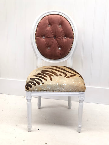 Rose Quartz Crystal Hair on Hide & Rose Velvet White Painted Side Accent Chair | Eclectic Boho Chic Dining Custom Chair