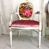 Gilded Arm Chair Upholstered in Pink Velvet and Vintage Tapestry | Victorian Boho Chic French Louis XVI Chair