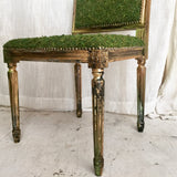 Moss Woodland | Throne Upholstery Eclectic Boho Chic Side Chair | Dining Accent Chair French Louis XVI Wood chair