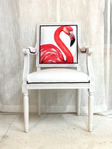 White Arm Chair | Dining Room Chairs Upholstered in Flamingo and Faux White Leather | Miami Flamingo