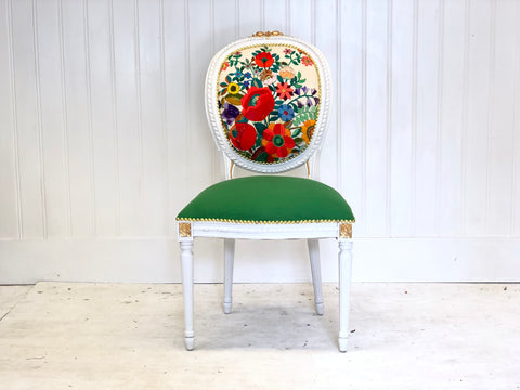 Floral Gilded Vintage Side Chair in Kelly Green