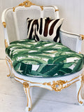 Banana Leaf Gilded Settee with Hair on Hide Pillows