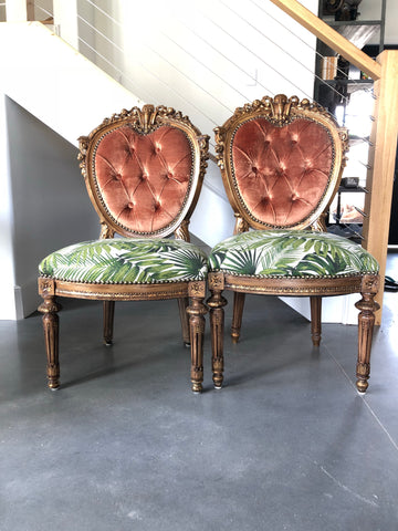 Pair of velvet tuft palm chairs