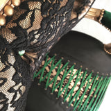 Emerald + Rose Gold Lace Corset Pair of armchairs