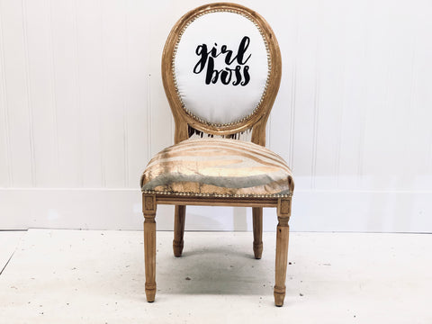 Girl Boss Queen in Metallic Hair on Hide and Leather Fringe | French Louis XVI Accent Side Chair