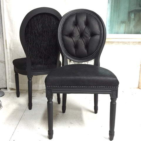Black leather tuft Ostrich feather chair