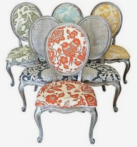 Antiqued Silver Dining Chairs set of 6