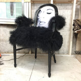 Kim Kardashian Queen | Black Mongolian Fur French Louis XVI Armchair