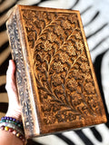 Carved Floral Wood Decorative Storage Box