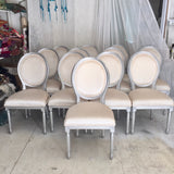 Silver + Velvet French Louis XVI Dining Chairs | Velvet Side Chairs | Set of 12