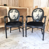 Black Velvet Fornasetti French Louis XVI Armchair | Eclectic Home Dining Accent Chair Decor