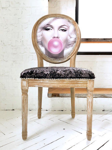 Marilyn Side Chair | French Louis XVI Frame in Natural Wood