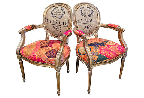 Boho Chic Pair of Arm Chairs | Gilded Patchwork Eclectic Bohemian Home Decor French Louis XVI dining chairs