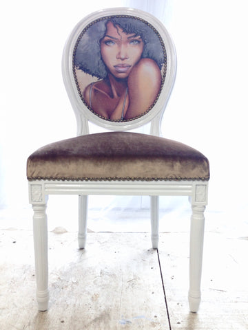 "Sultry Queen | Velvet Upholstered French Louis XVI Side Chair in White and Hazelnut | Throne Upholstery ""Queen Line"""