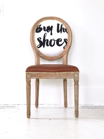 """Buy the Shoes"" Leather Side Chair in Saddle Tan Leather"