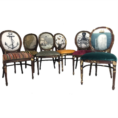 Set of 6 Eclectic Dining Chairs | WOODLAND