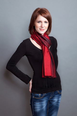 100% Silk Scarf -- Red/Black