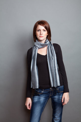 100% Silk Scarf -- Grey/Black