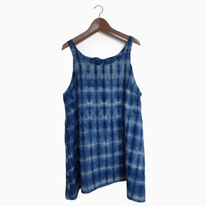 Indigo Shibori Sleeveless Tunic Size XL
