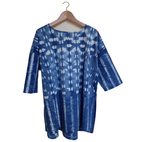 The Catkin #17: Indigo Shibori Tunic Size XL