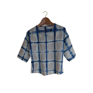 The Catkin #16: Indigo Shibori Top, Size XS