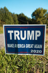 "Show your Presidential support with a ""TRUMP Make America Great Again 2020"" Yard Sign.  Available in Blue (with white lettering and red accents).  Measures 24"" x 18""."