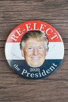Re-elect 45th President / Trump Supporter Pin (white on red, white, blue with Trump smiling face)