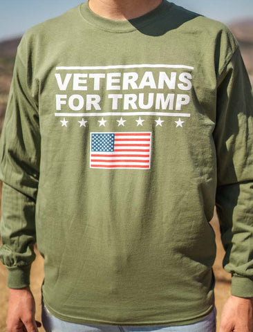 Veterans for Trump American Flag Long-Sleeve T Shirt in ARMY GREEN