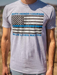 Wear this Duty Honor Courage Blue Lives Matter T-Shirt in support of law enforcement officers in your community and throughout the USA!  Available in Grey, Short-Sleeve Crew-Neck.  Size S-XXXXL.