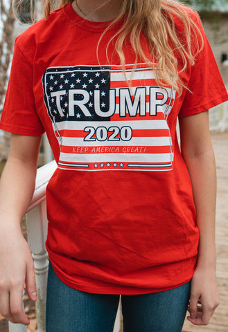 Trump American Flag Short-Sleeve Crew-Neck T Shirt (Red)